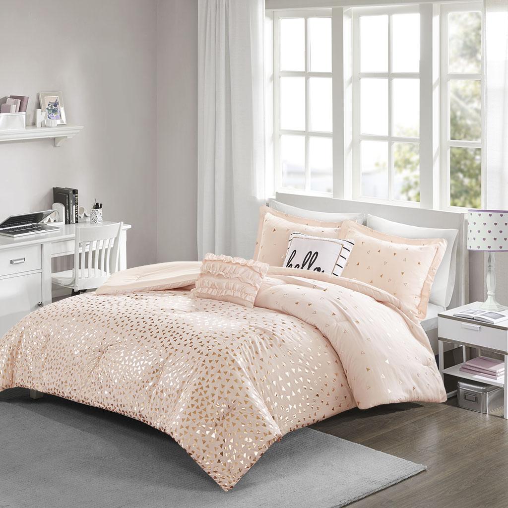 Twin Txl Zoey Metallic Triangle Print Comforter Set Micro Fiber Pink Gold Design Ebay