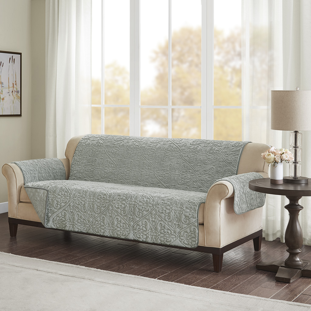Bismarck Embroidered Faux Fur Sofa Protector