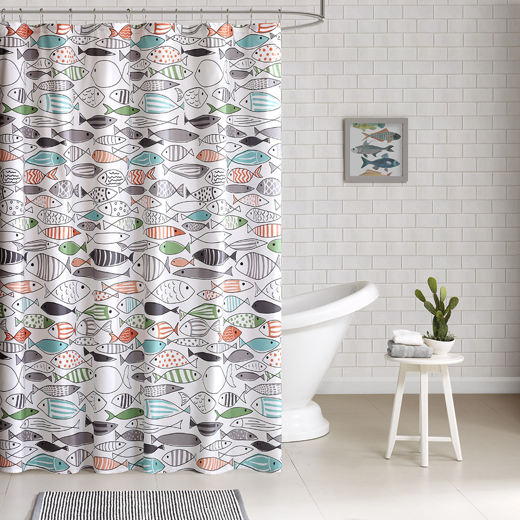 Sardinia Cotton Printed Shower Curtain