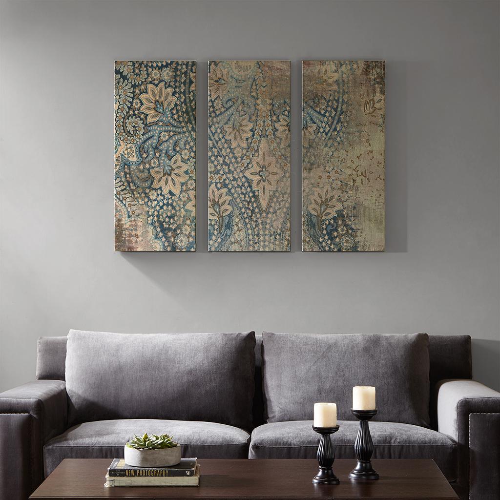 weathered damask walls printed linen 3 piece set