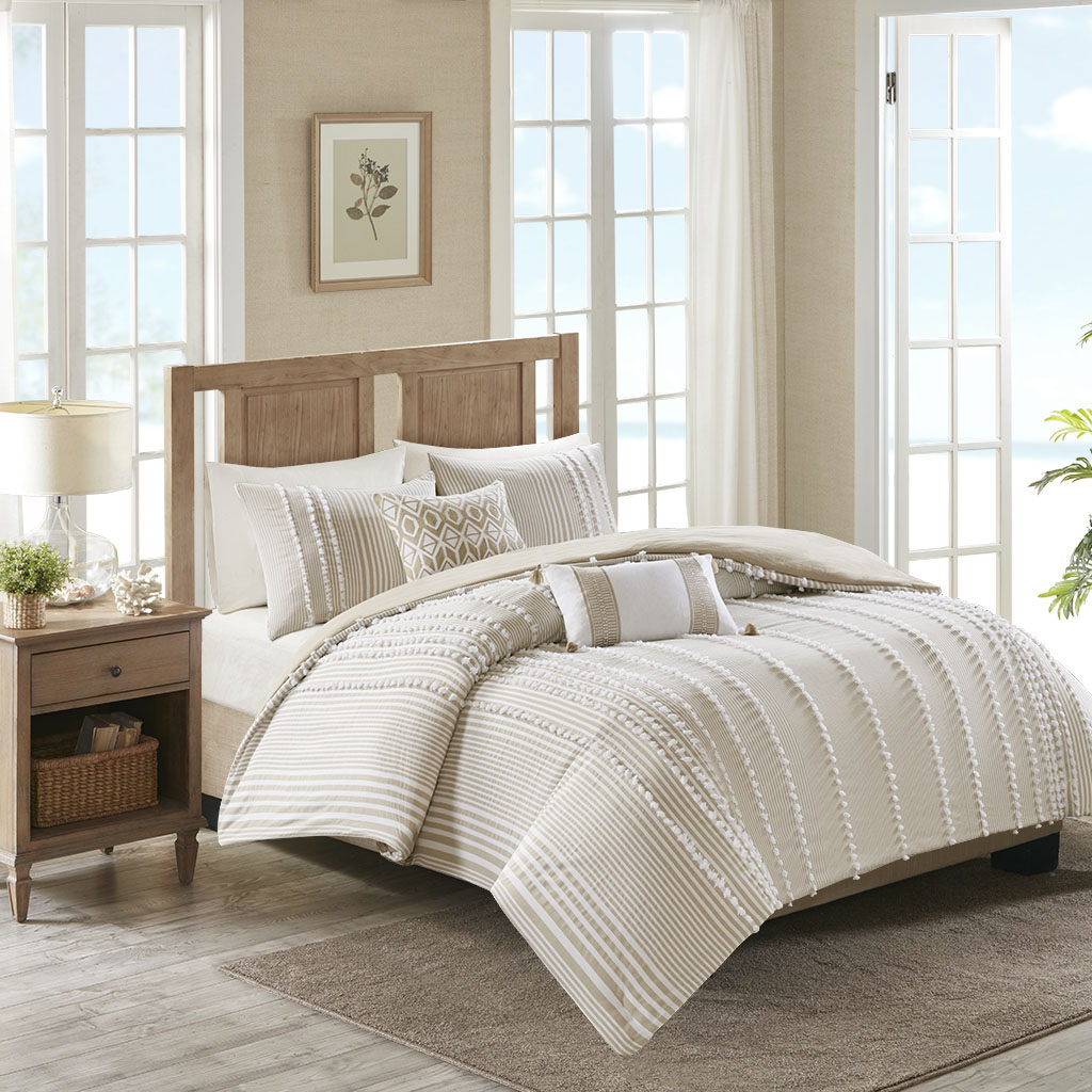 Full Queen Anslee 3 Piece Cotton Yarn Dyed Comforter Set Farmhouse Neutral Brown 86569062031 Ebay