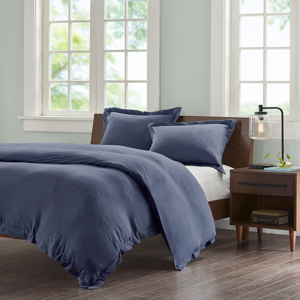 Cotton Jersey Knit Heathered Duvet Cover Mini Set Ink