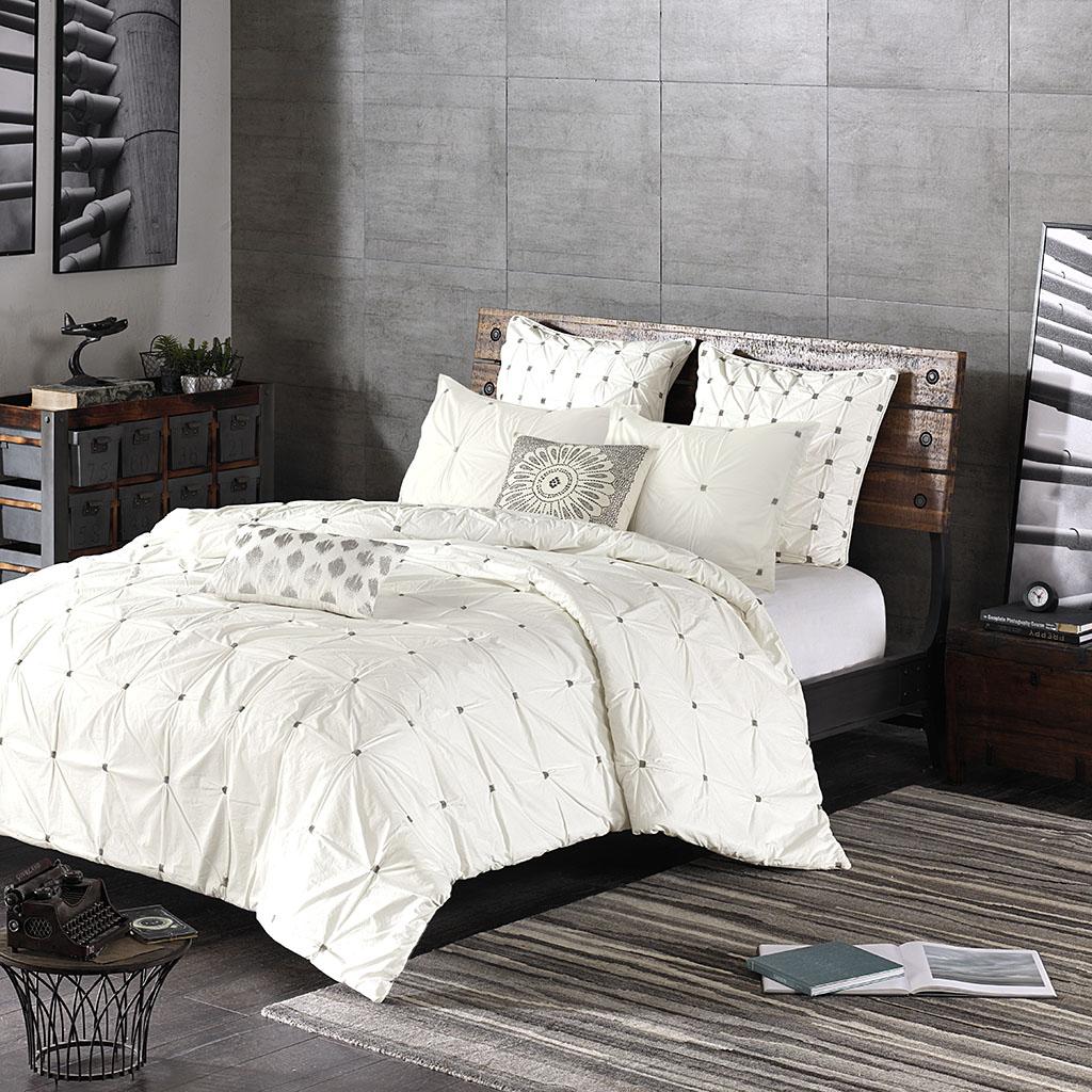 Full Queen Masie 3 Piece Sewn Cotton Comforter Set Mid Century Modern White 596 675716735043 Ebay