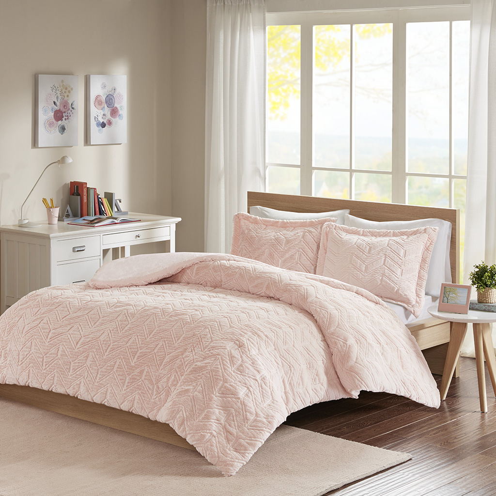 ULTRA SOFT SHAGGY PINK FAUX FUR COMFORTER SET BLUSH MINK SHAG PLUSH BEDDING