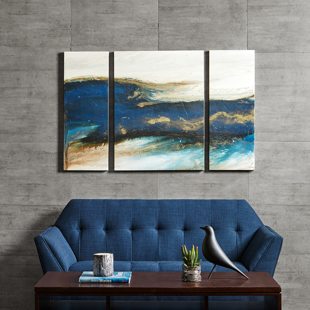 Rolling Waves Gel Coated Canvas Set Of Three Ink Ivy
