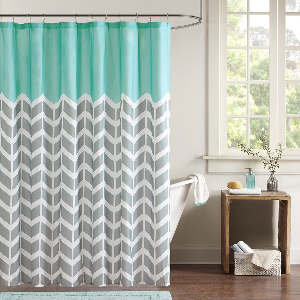 Aqua chevron shower curtain - Designer Shower Curtains Fabric Shower Curtains Designs Best Curtains