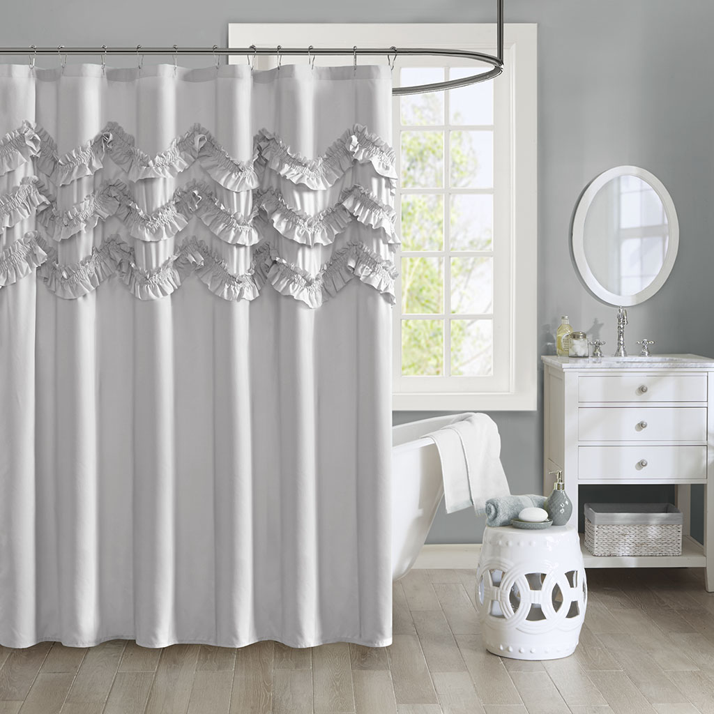 aurora ruffle shower curtain