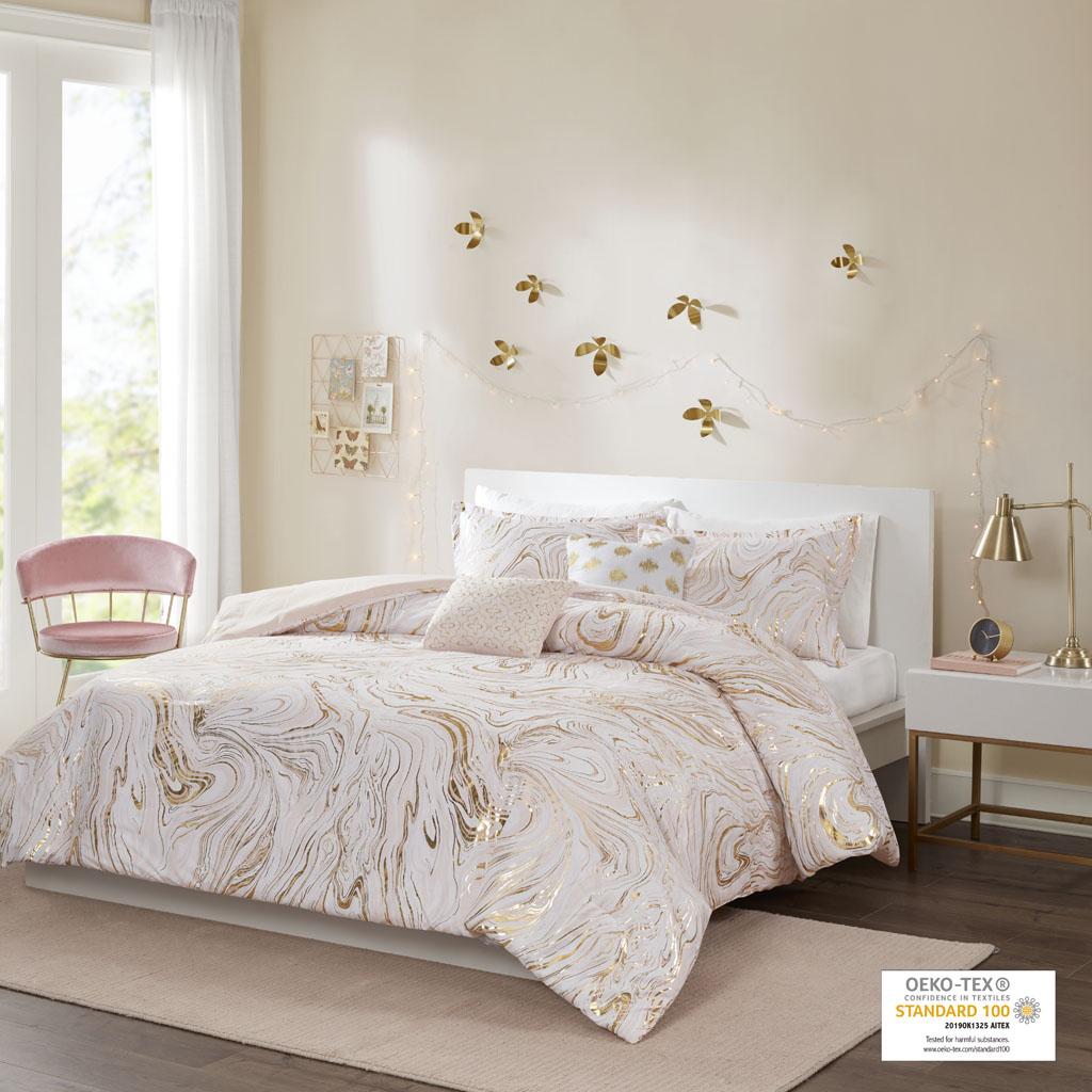 Pop Shop Light Grey Marble with Silver Metallic 3 Piece Comforter Set Full//Queen