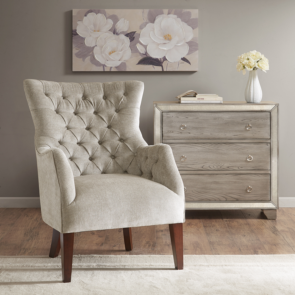 Hannah Button Tufted Wing Chair