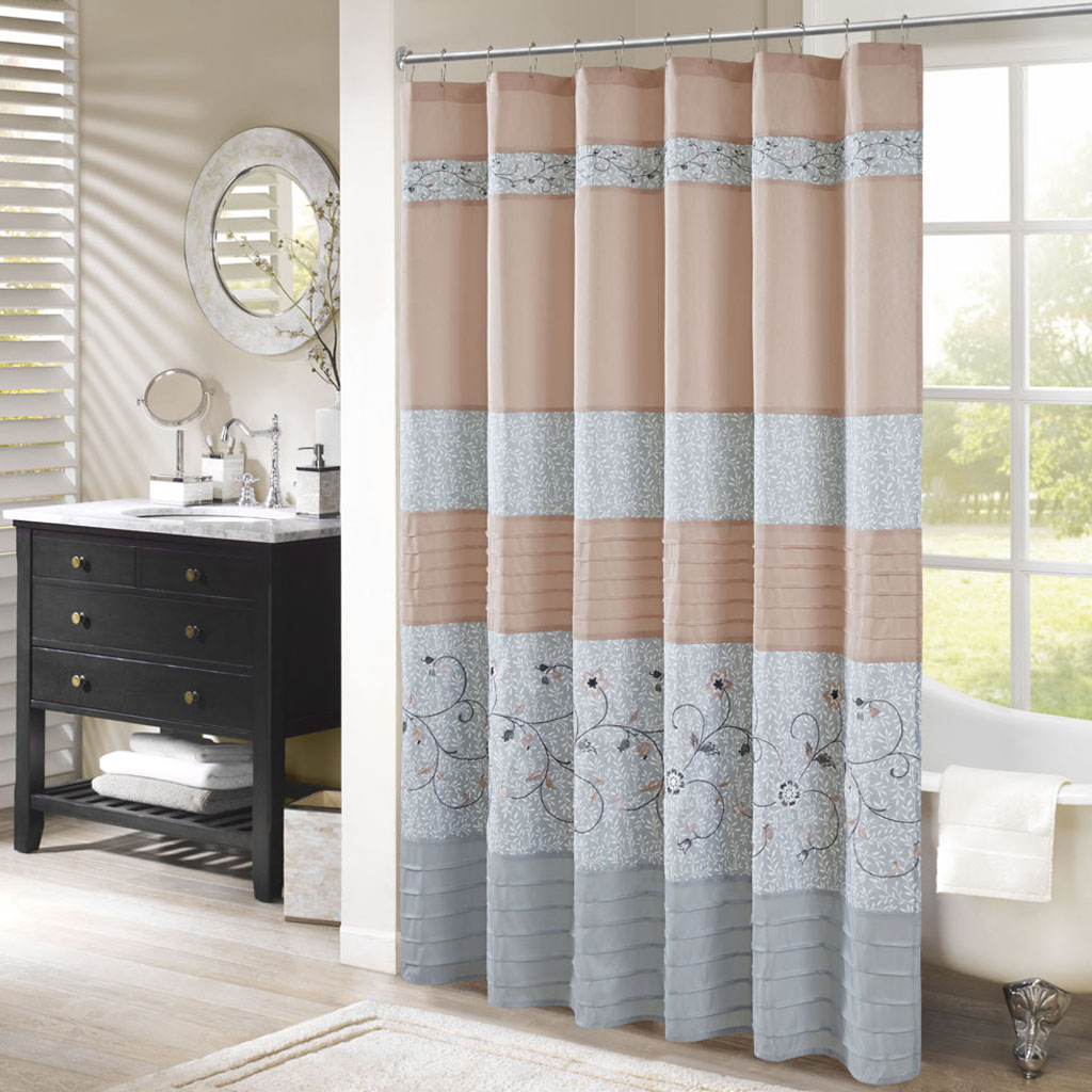 Serene Faux Silk Embroidered Floral Shower Curtain