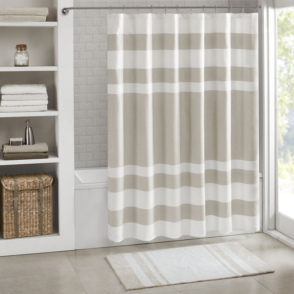 Spa Waffle Shower Curtain With 3M Treatment