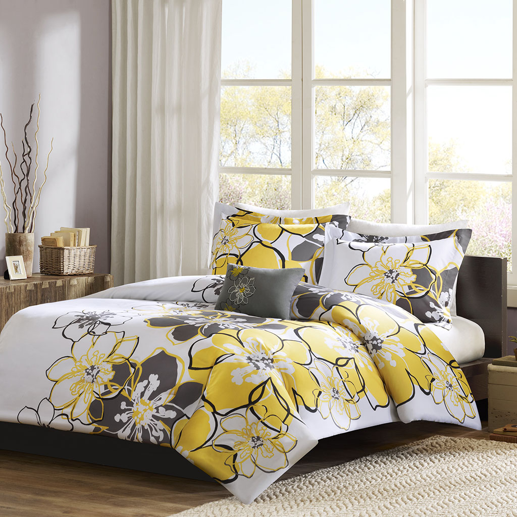bedroom dp bedding com grey yellow and amazon tanya intelligent microfiber design queen size soft bed full ultra pieces damask sets set comforter