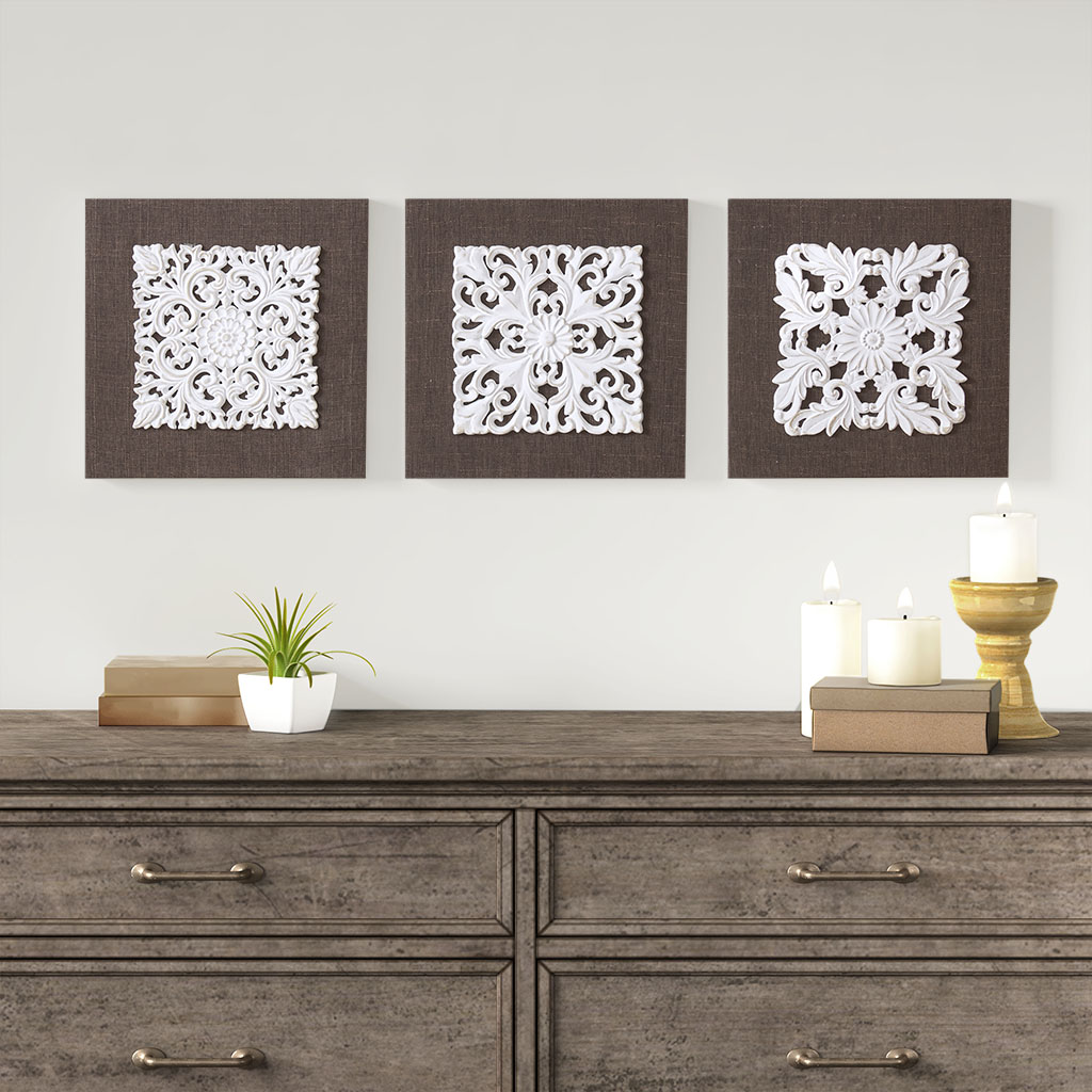 White Mandala Trinity 3d Embellished Linen Canvas 3 Piece Wall Art By Madison Park Designer Living