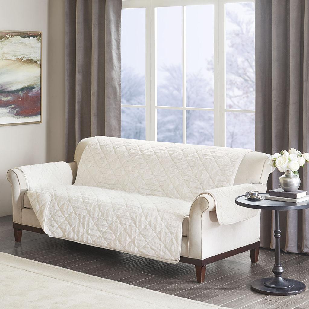 Arctic Checkboard Long Faux Fur Sofa Protector