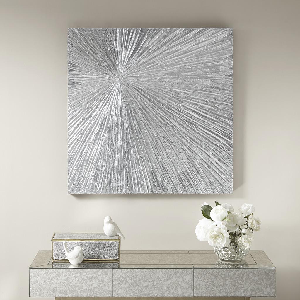 Sunburst Silver Resin Dimensional Palm Box Madison Park