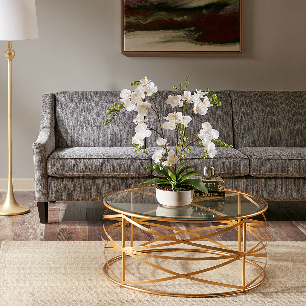 36 Inch Round Glass Coffee Table: Nora 36-inch Round Coffee Table With Metallic Gold Metal